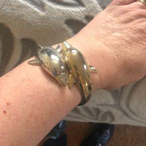 Jewelry - Vintage DOLPHIN cuff bracelet silver & gold tone